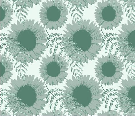 Monochromatic Sunflowers (1) fabric by jade_lavey on Spoonflower - custom fabric