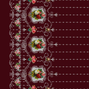 Victorian Roses and Filigree Border - Burgandy