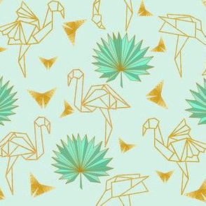 Gold Origami Flamingoes & Palms & Butterflies (mint) N2