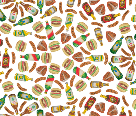 BBQ Meat Mandalas fabric by landpenguin on Spoonflower - custom fabric