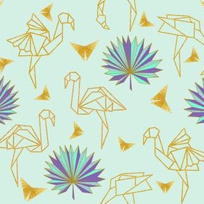 Gold Origami Flamingos & Palms & Butterflies (mint) N2