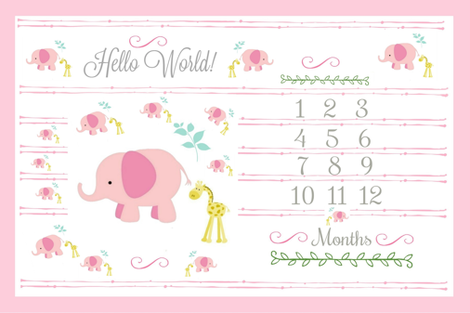 Hello World Growth Chart 54 Elephant Friends Pink Mint Fabric