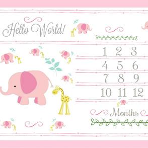 Hello World  growth chart 54 elephant friends pink mint