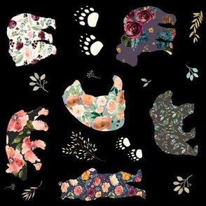 "8"" PATCHWORK BEARS FLORAL / Black / 90 degrees"