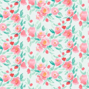 Watercolor Floral Pink and Green with Green Polka Dot
