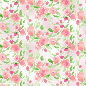 Watercolor Floral Dot in Pink and Bright Green
