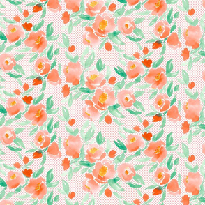 Watercolor Floral Dot Orange and Green With Orange Polka Dots