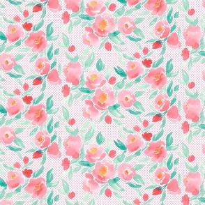 Watercolor Floral Dot Pink over Pink Polka Dots