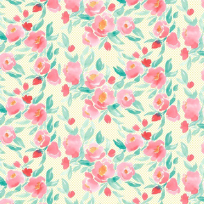 Watercolor Floral Dot In Pink and Green With Yellow Polka Dots