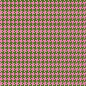 Houndstooth Army Green Peony Pink Small