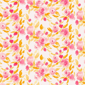 Watercolor Floral in Hot Pink and Yellow Orange