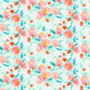 Watercolor Floral In Orange and Aqua Polka Dot