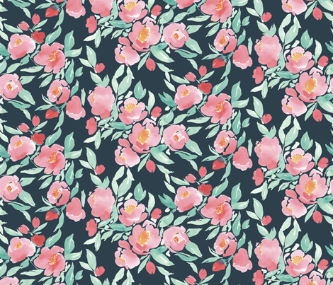 Watercolor Floral in Pink and Mint on Dark Grey fabric by mjmstudio on Spoonflower - custom fabric