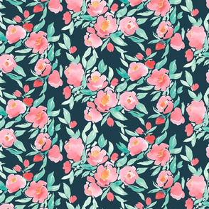 Watercolor Floral in Pink and Mint on Dark Grey