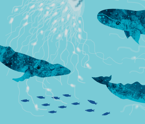 Whales and Jellies fabric by inkysunshine on Spoonflower - custom fabric