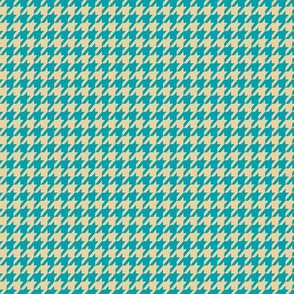 Houndstooth Tan and Teal Small