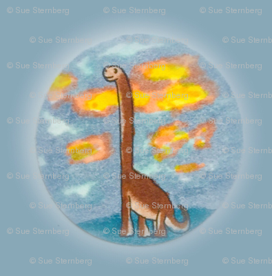 Sweet Sauropod on slate blue