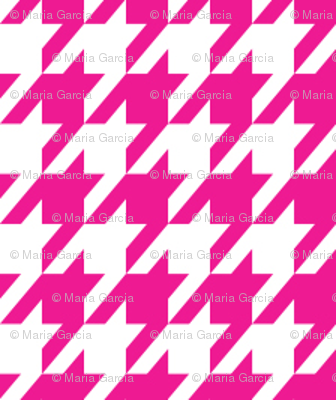 Pink and White Houndstooth Small