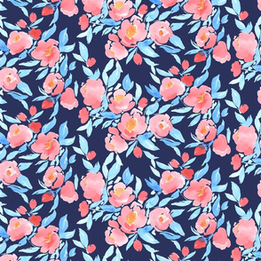 Watercolor Floral Pink and Light Blue On Navy