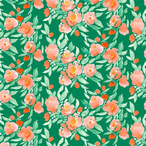 Watercolor Floral Pink in Orange and Green on Green
