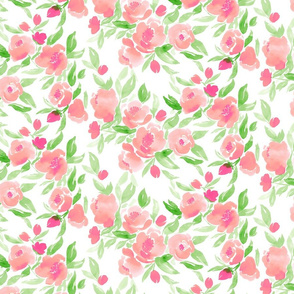 Watercolor Floral Pin kand Green on White