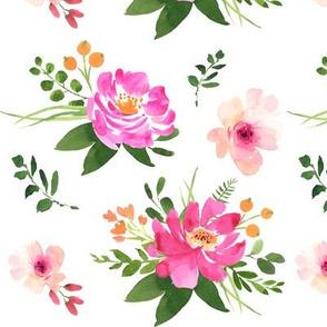 Vintage Floral White - Watercolor Floral