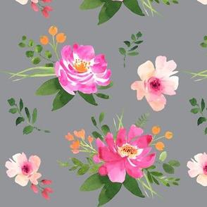 Vintage Floral Grey - Watercolor Floral