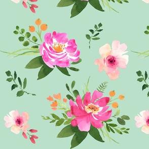 Vintage Floral Mint - Watercolor Floral