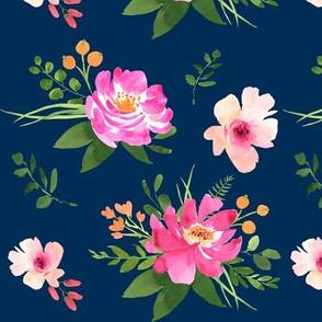 Vintage Floral Navy - Watercolor floral