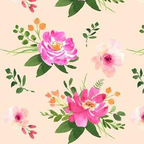 Vintage Floral Peach - Watercolor Floral