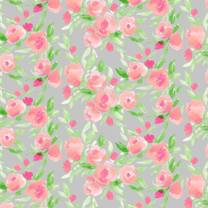 Watercolor Flor in Pink and Green on Grey