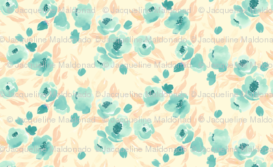 Watercolor Floral Mint and Peach On Cream