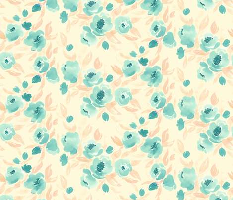 Watercolor Floral Mint and Peach On Cream fabric by mjmstudio on Spoonflower - custom fabric