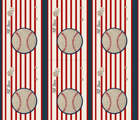 baseball all star VERTICAL  14 - red stripes fabric by drapestudio on Spoonflower - custom fabric