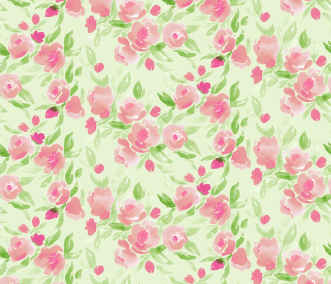 Watercolor Floral in Pink and Pale Green fabric by mjmstudio on Spoonflower - custom fabric