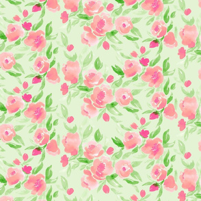 Watercolor Floral in Pink and Pale Green