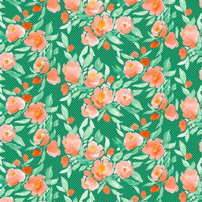 Watercolor Floral Coral and Green With Green on Green Polka Dots