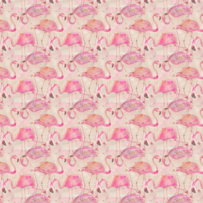 soft flamingos on beige