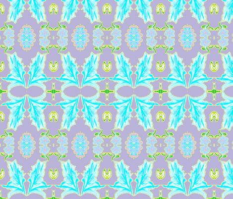 Tobacco Leaf, Aqua, Lavender, Yellow fabric by serendipity_textiles on Spoonflower - custom fabric
