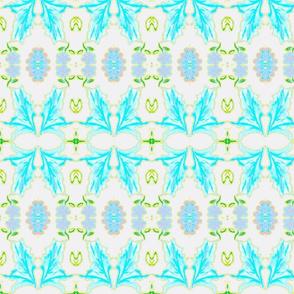 Tobacco Leaf, White, Turquoise, Blue, Green