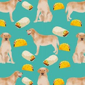 labrador retriever yellow lab fabric - tacos and dog fabric - turquoise