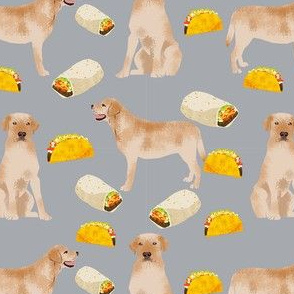 labrador retriever yellow lab fabric - tacos and dog fabric - grey