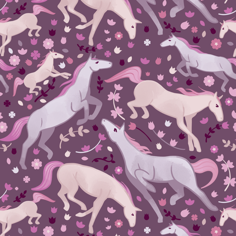 Spring horses fabric by elena_naylor on Spoonflower - custom fabric