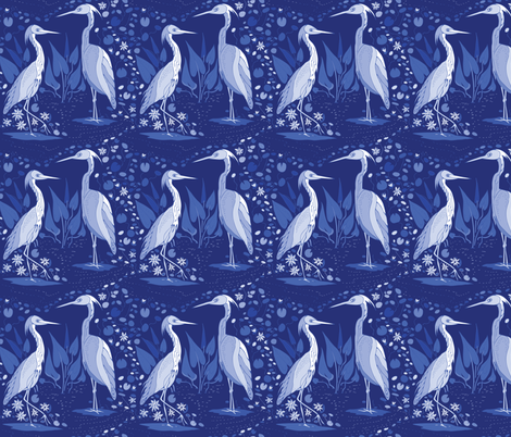 Love on the Intracoastal Waterway- blue monochrome fabric by katie_hayes on Spoonflower - custom fabric
