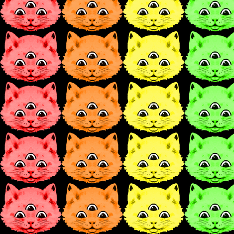 2 colorful rainbow cats kittens heads face 3 eyes aliens mutants kawaii black background red orange yellow neon green blue purple pink third 3rd eye mystical kitsch fabric by raveneve on Spoonflower - custom fabric