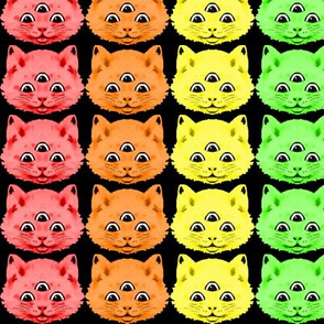 2 colorful rainbow cats kittens heads face 3 eyes aliens mutants kawaii black background red orange yellow neon green blue purple pink third 3rd eye mystical kitsch