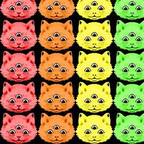 2 colorful rainbow cats kittens heads face 3 eyes aliens mutants kawaii black background red orange yellow neon green blue purple pink third 3rd eye mystical kitsch