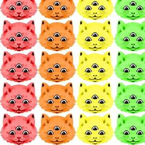 1 colorful rainbow cats kittens heads face 3 eyes aliens mutants kawaii white background red orange yellow neon green blue purple pink third 3rd eye