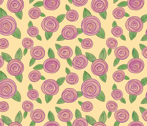 Roses on Yellow fabric by fanciful_whimsy on Spoonflower - custom fabric