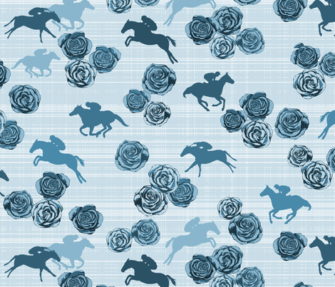 Horses And Roses Blue fabric by mrshervi on Spoonflower - custom fabric